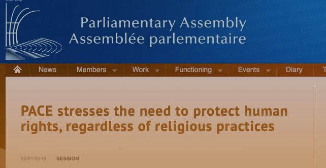 PACE stresses human rights protection , regardless of religious practices